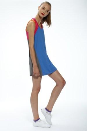 Toby Tucker's Lycra dress. Keds sneakers.