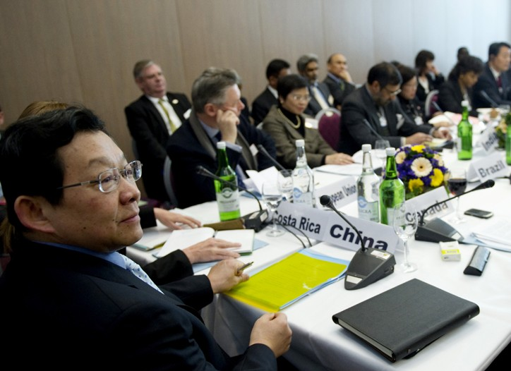 China's Commerce Minister Chen Deming meets with ministers of the World Trade Organization.