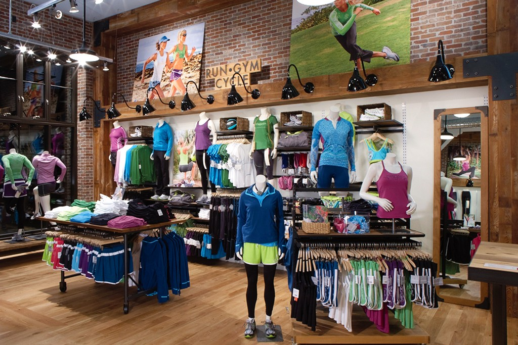 Interior of the Athleta store in San Francisco.