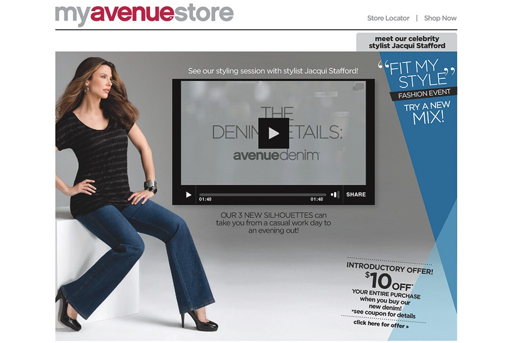 Avenue is promoting its denim initiative on its Web site.