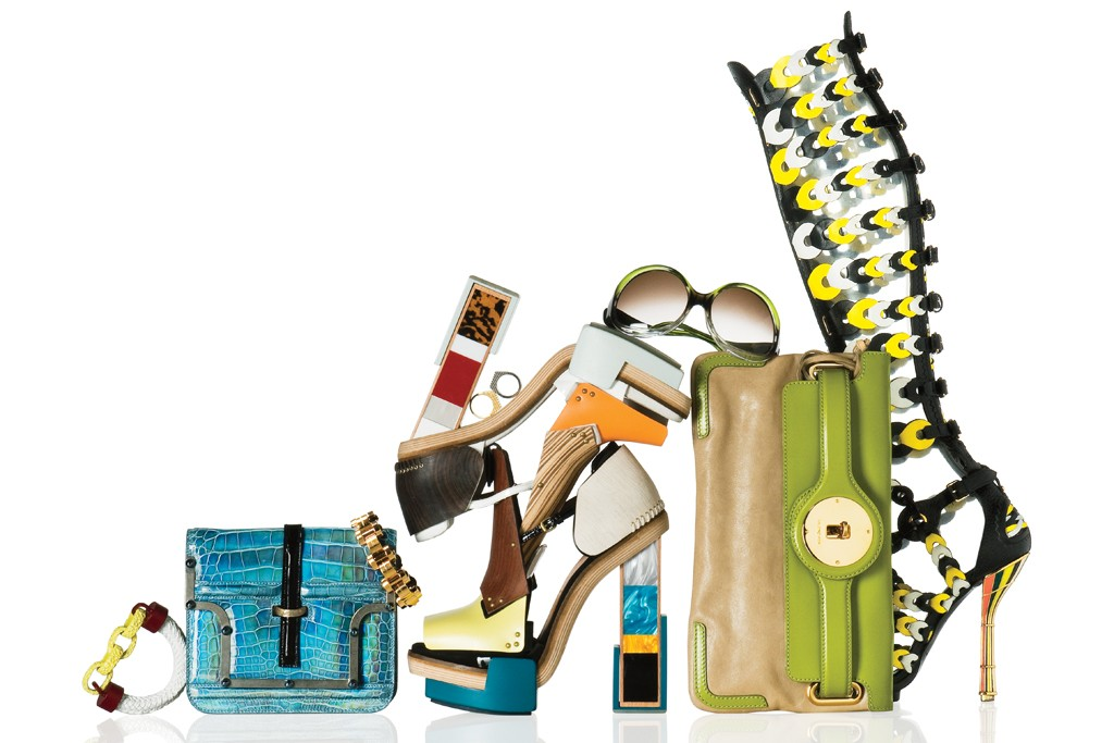 From left: Painted metal bracelet, fall 2010; clutch, spring 2009; chain bracelet, spring 2007; collage platform shoes, fall 2010; metallic signet rings, spring 2007; Edition sunglasses, spring 2007; Lune clutch, fall 2009; gladiator boot, spring 2008.