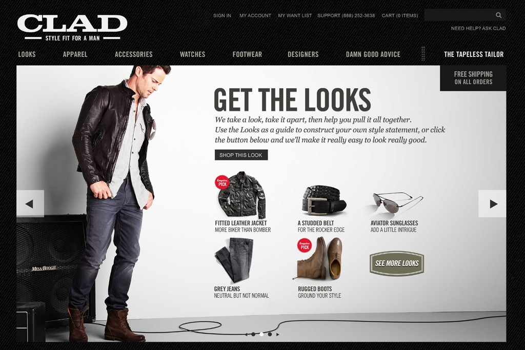 The Clad homepage.