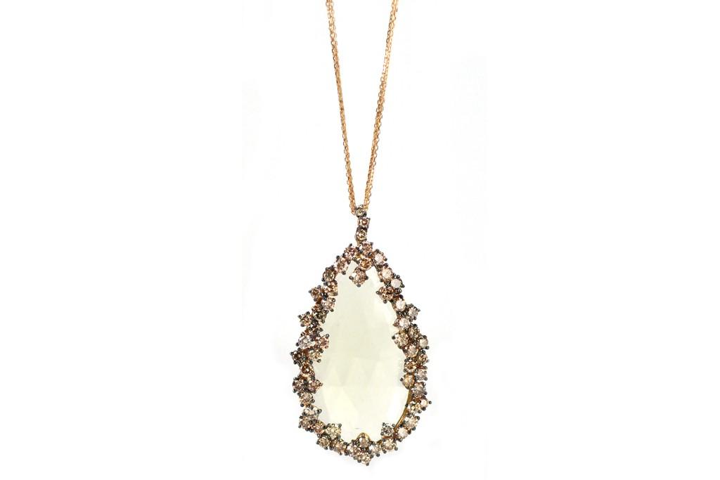 Rose gold, champagne diamond and Lemon quartz Suzanne Kalan at Fragments necklace.