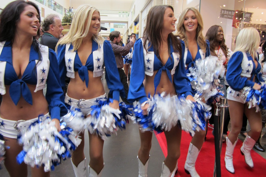 The Dallas Cowboy Cheerleaders at the opening of H&M's first store in Dallas.