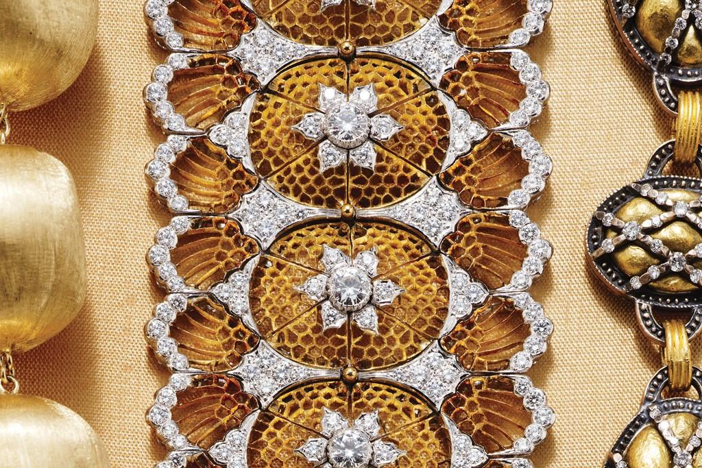 Marco Bicego's 18-karat yellow gold bracelet; Buccellati's 18-karat yellow gold and diamond bracelet; Gurhan's 24-karat gold, 4-karat gold alloy and diamond bracelet.