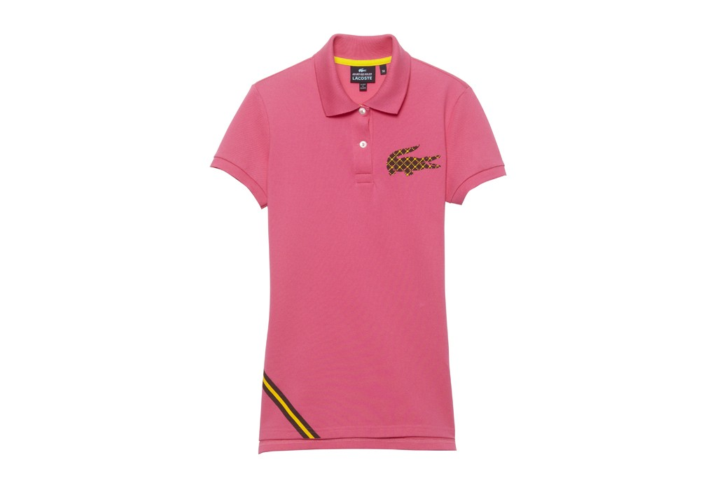 Lacoste's women's pink Special Edition polo designed by Jonathan Adler.