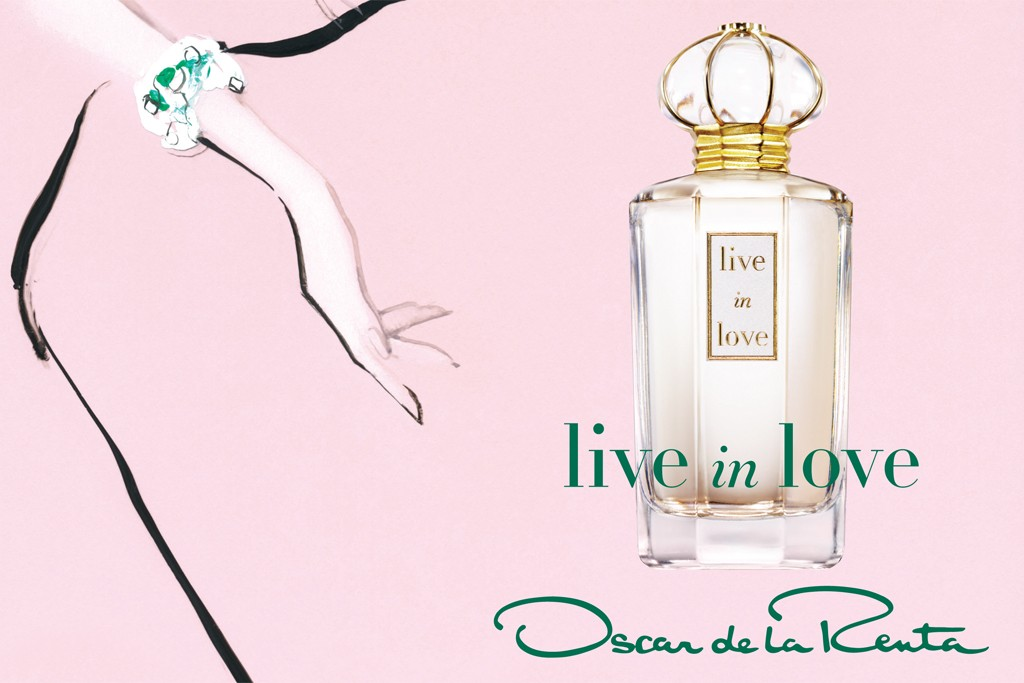 Oscar de la Renta's Live in Life ad illustrated by David Downton.