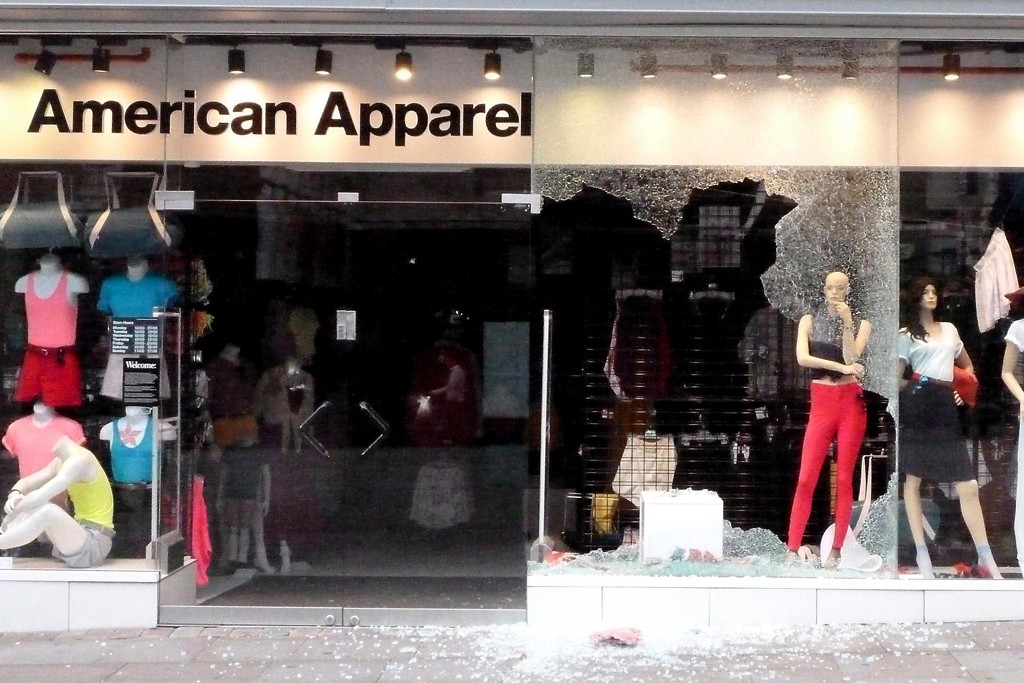 American Apparel shows signs of damage on Market street in Manchester.