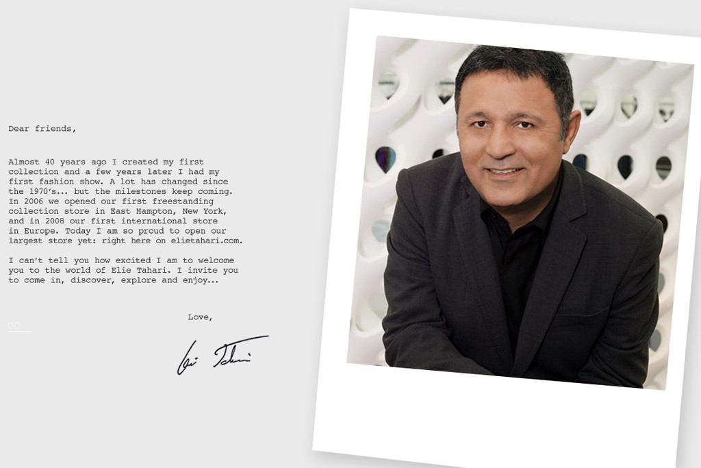 A view of Elie Tahari's relaunched web site.