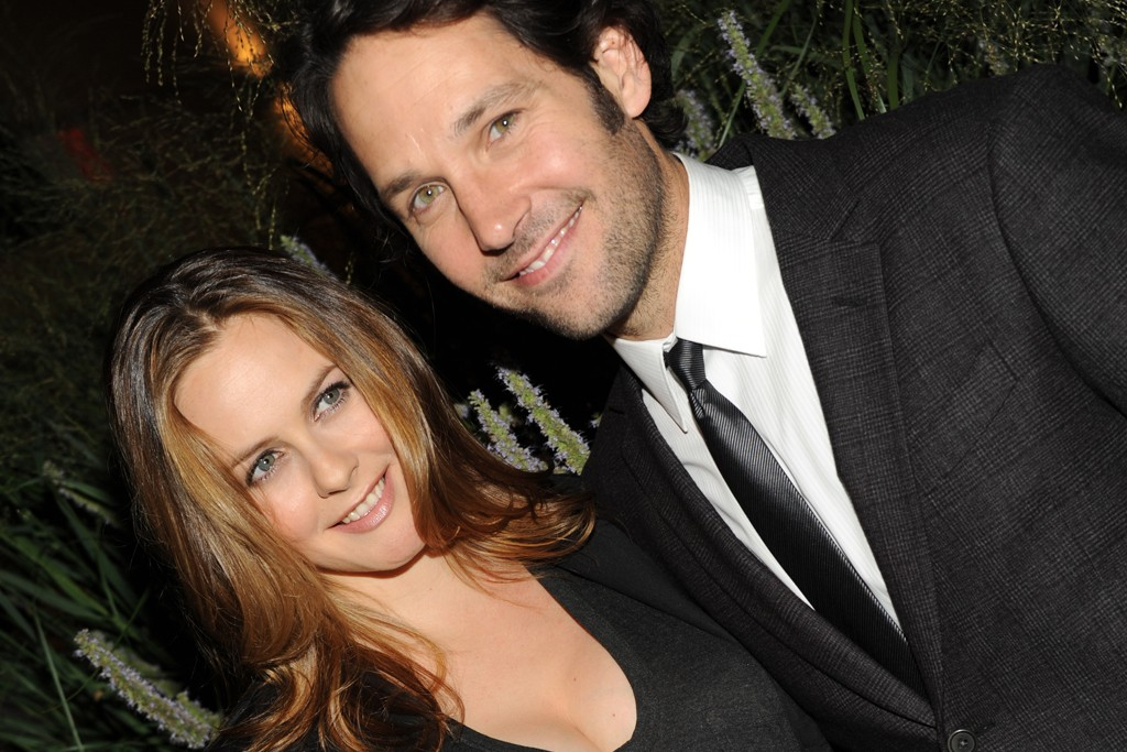 Alicia Silverstone in Nicole Miller jacket and Alexander Wang shirt with Paul Rudd in John Varvatos.