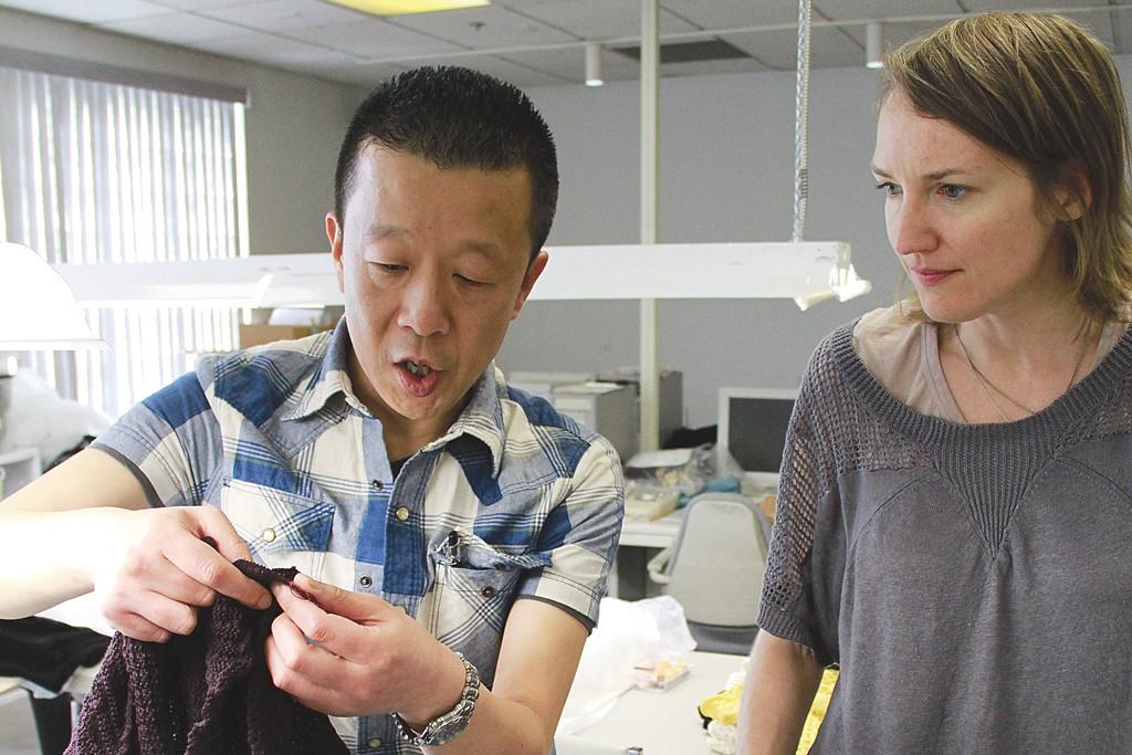 Shima Seiki's Tsuno Akira and designer Marcia Patmos.