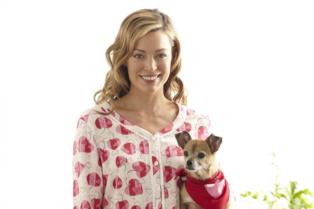 The KN Karen Neuburger Heart Heath pajama and mascot puppy.