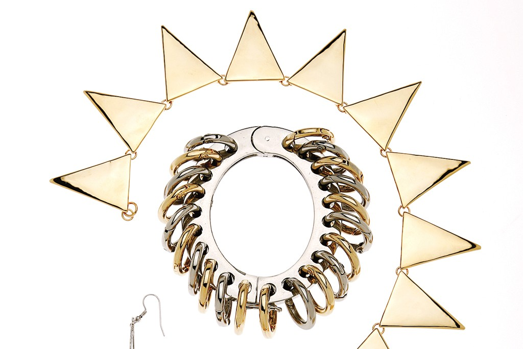 Borgo's gold-plated brass collar and silver and gold-plated brass bracelet, both produced in Providence, R.I.