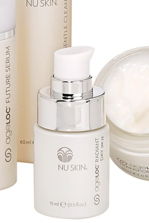 Nu Skin Enterprises' product examples (hair, skin and body care, makeup, fragrance).