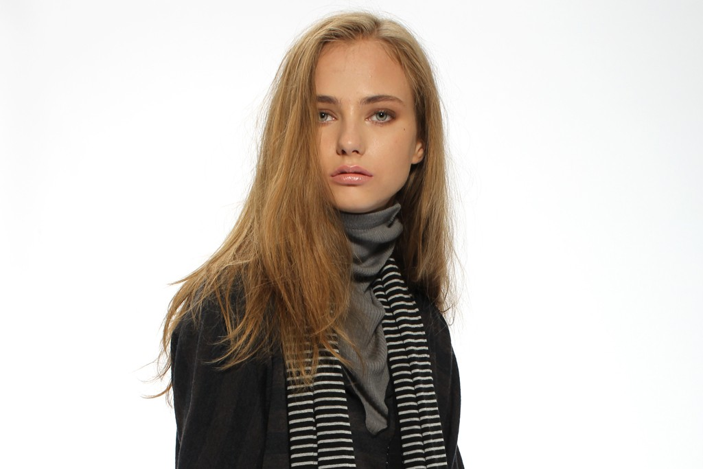 With & Wessel's merino wool scarf, turtleneck, shirt and pants.