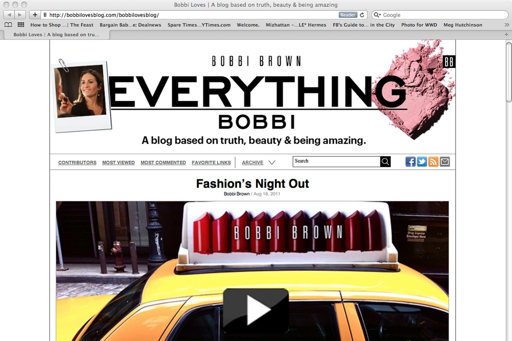The landing page for Bobbi Brown's new blog.