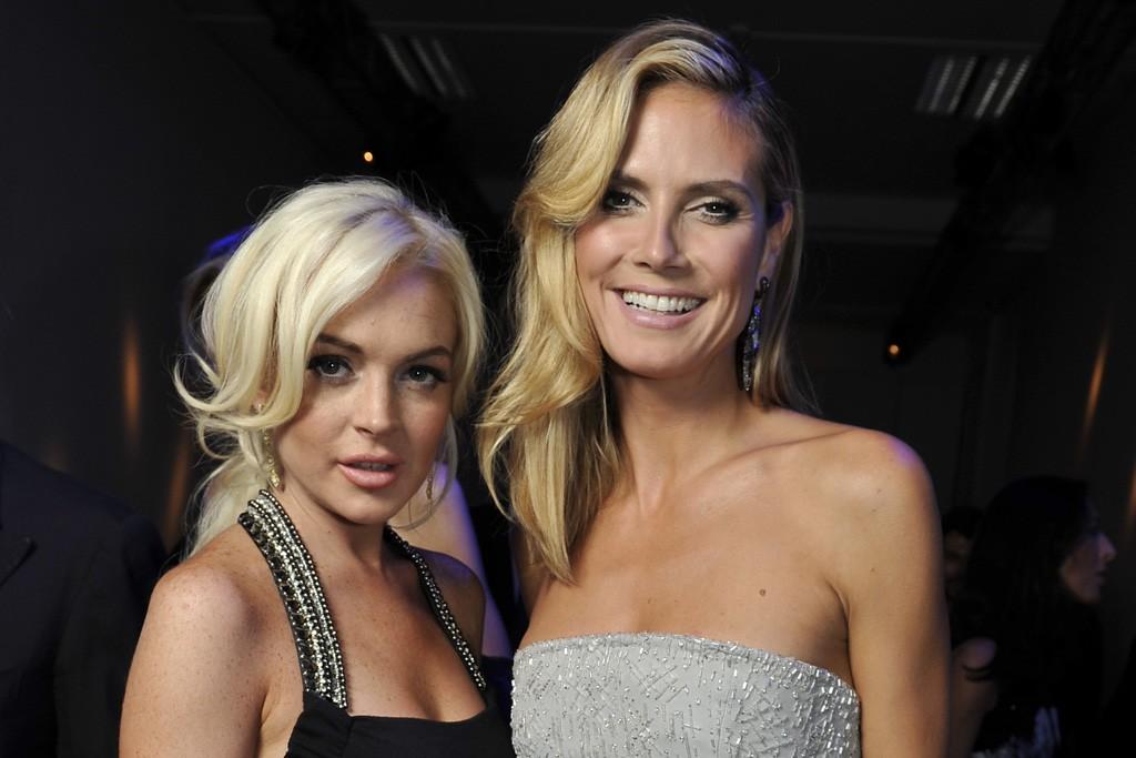 Lindsay Lohan and Heidi Klum