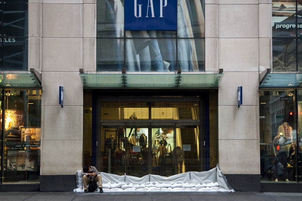 A view of The Gap store on Fifth Avenue before Hurricane Irene.