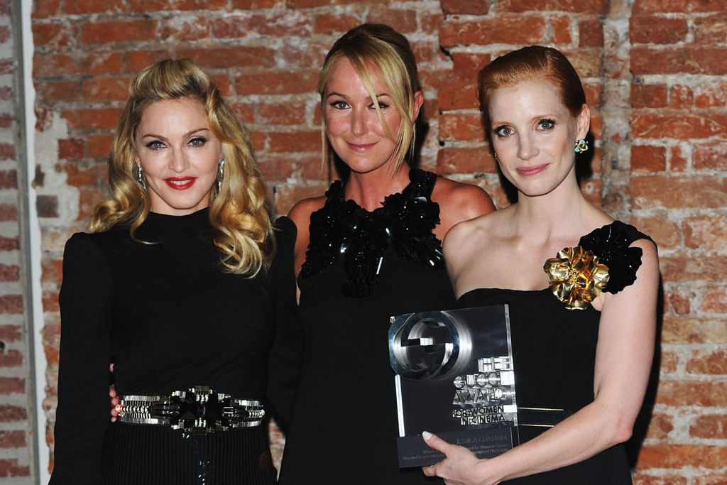 Madonna, Frida Giannini and Jessica Chastain attend the 2011 GUCCI Award For Women In Cinema.