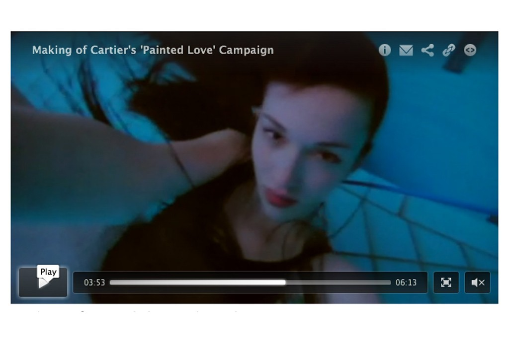 """A still from the making of Cartier's """"Painted Love"""""""