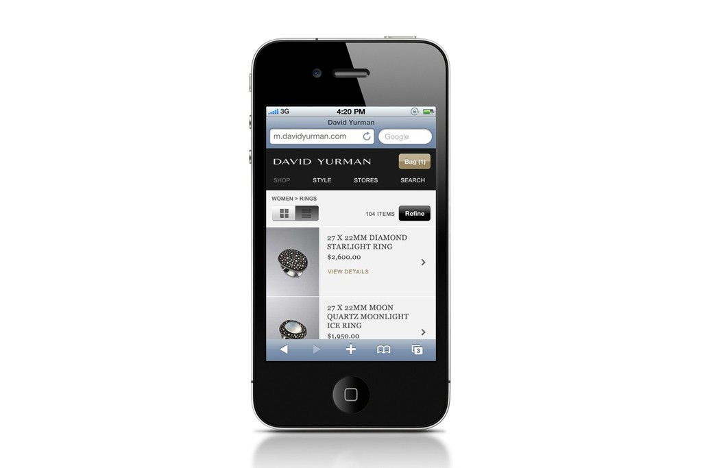 A view of the mobile David Yurman Web site.