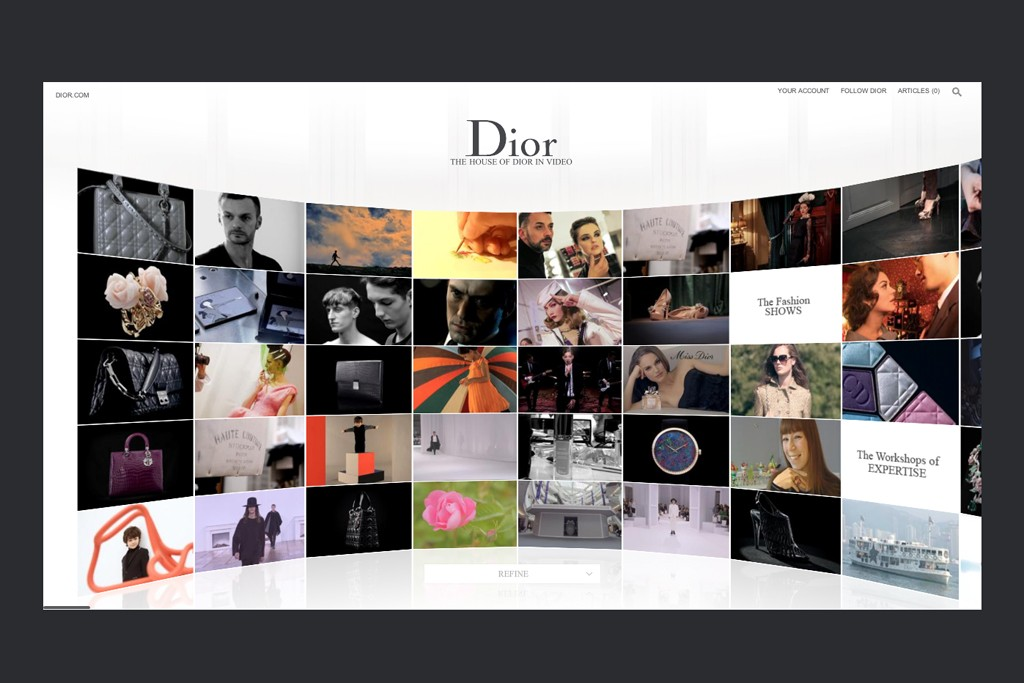 Page views of the revamped Dior Web site, uniting fashion and beauty categories at one address.