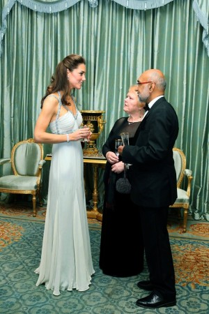 The Duchess of Cambridge in vintage Amanda Wakeley and guests at Clarence House.