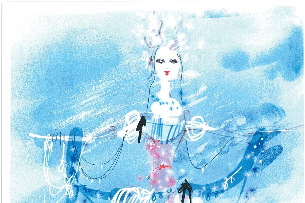 """A sketch by Christian Lacroix for """"La Source"""" at the Opéra de Paris."""