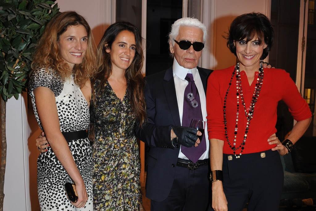 Martina Mondadori, Coco Brandolini, Karl Lagerfeld and Inès de la Fressange.