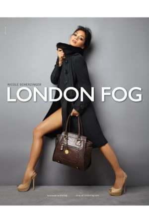 An ad visual from the London Fog campaign featuring Nicole Scherzinger.
