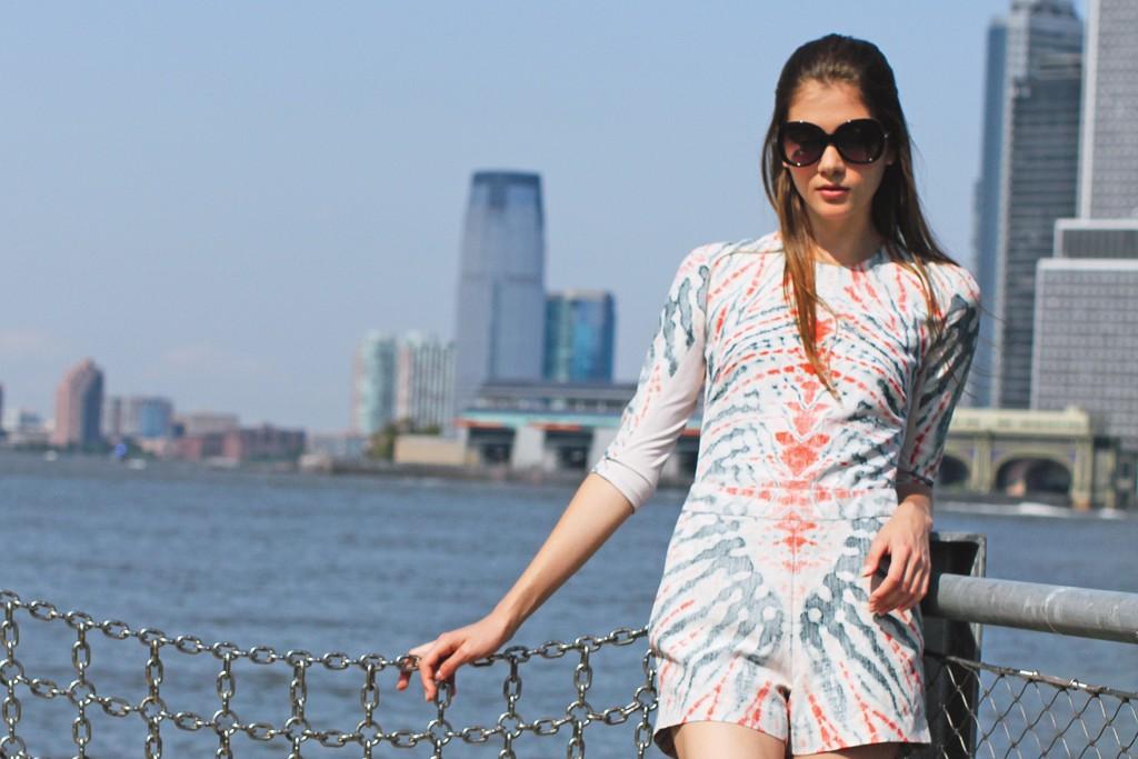 Silk and linen romper from Raquel Allegra; Kork-Ease shoes.