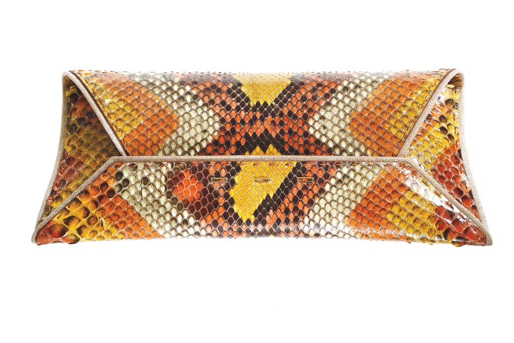 VBH's python clutch with woven polyester trim.