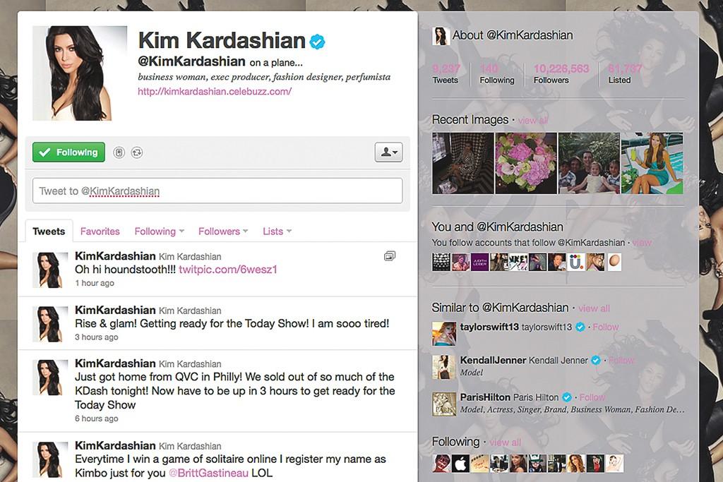 Kim Kardashian's Twitter feed.