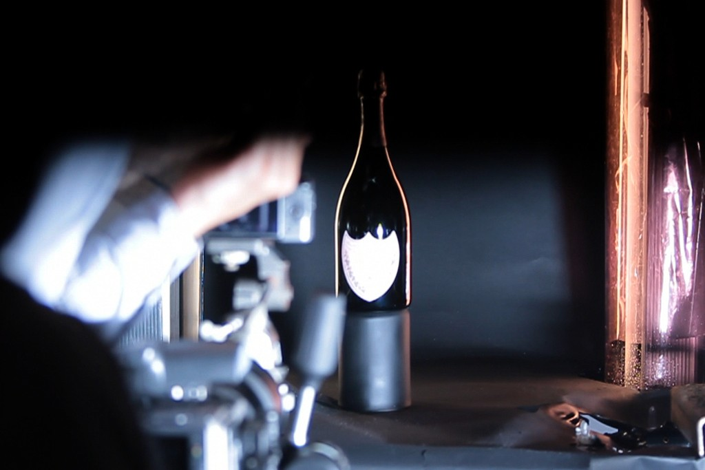 A still from the behind-the-scenes making of video of the new Dom Pérignon campaign by David Lynch.