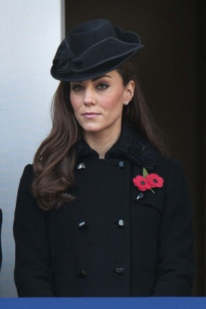 The Duchess of Cambridge at the Remembrance Sunday service at the Cenotaph memorial.