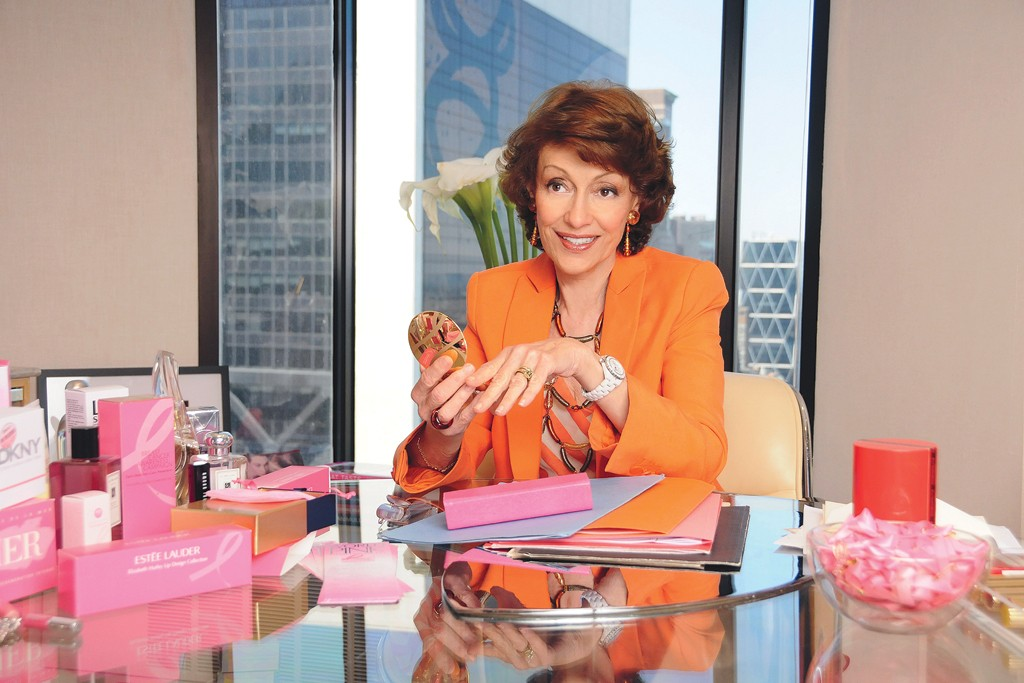 Evelyn Lauder with some of her BCA products.