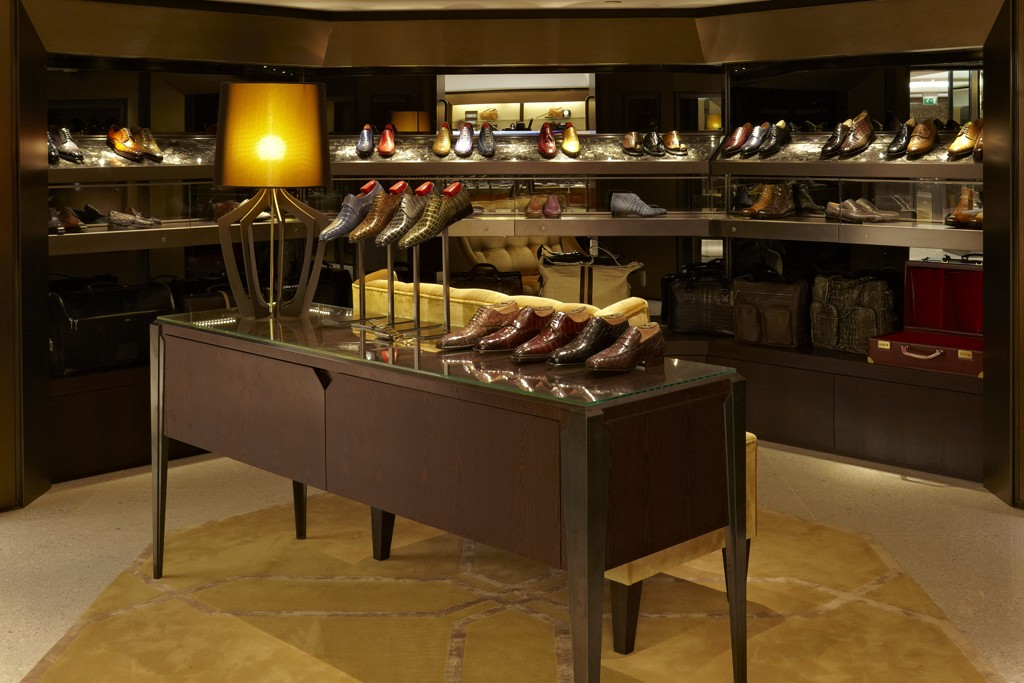 A view of the Men's Shoe Salon at Harrods.
