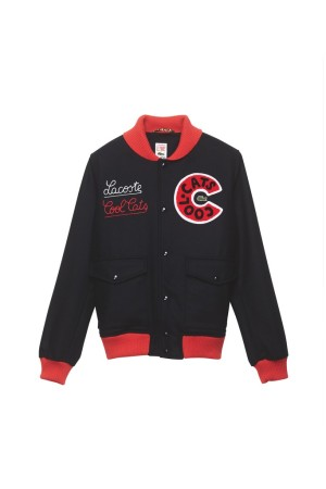 A varsity jacket by Lacoste Live X Cool Cats.