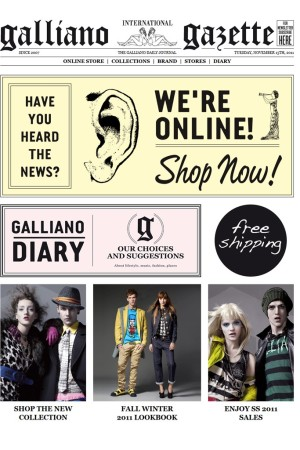 A screen grab of Galliano online