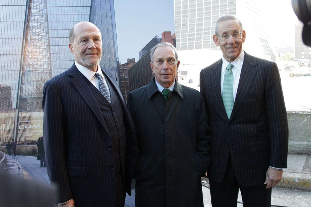 Lew Frankfort, Mayor Michael Bloomberg and Stephen Ross.