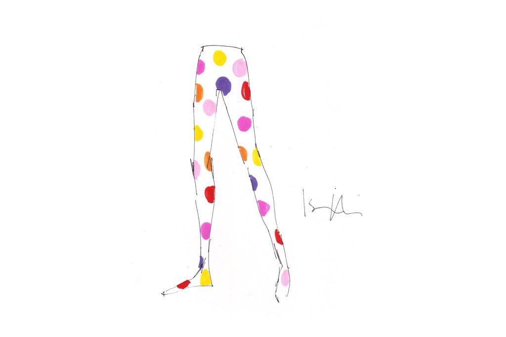 A sketch of Isaac Mizrahi New York legwear.