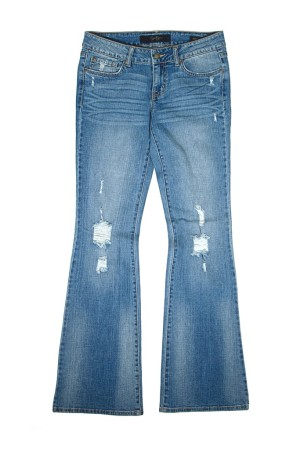 Distressed flared jeans by Jessica Simpson.
