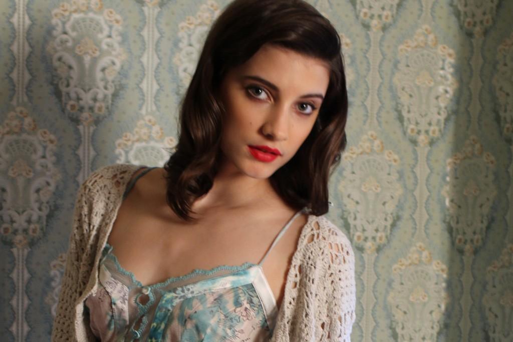 La Perla's silk slip and Autumn Cashmere's cotton cardigan.