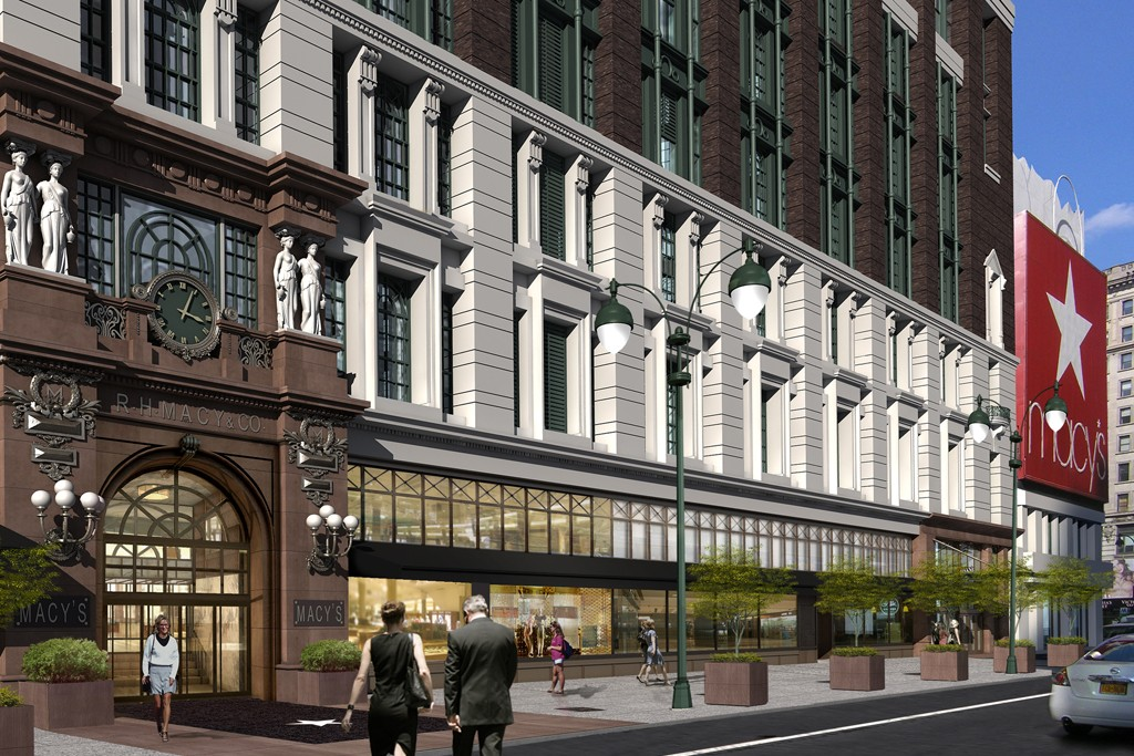 A rendering of the updated Macy's exterior.