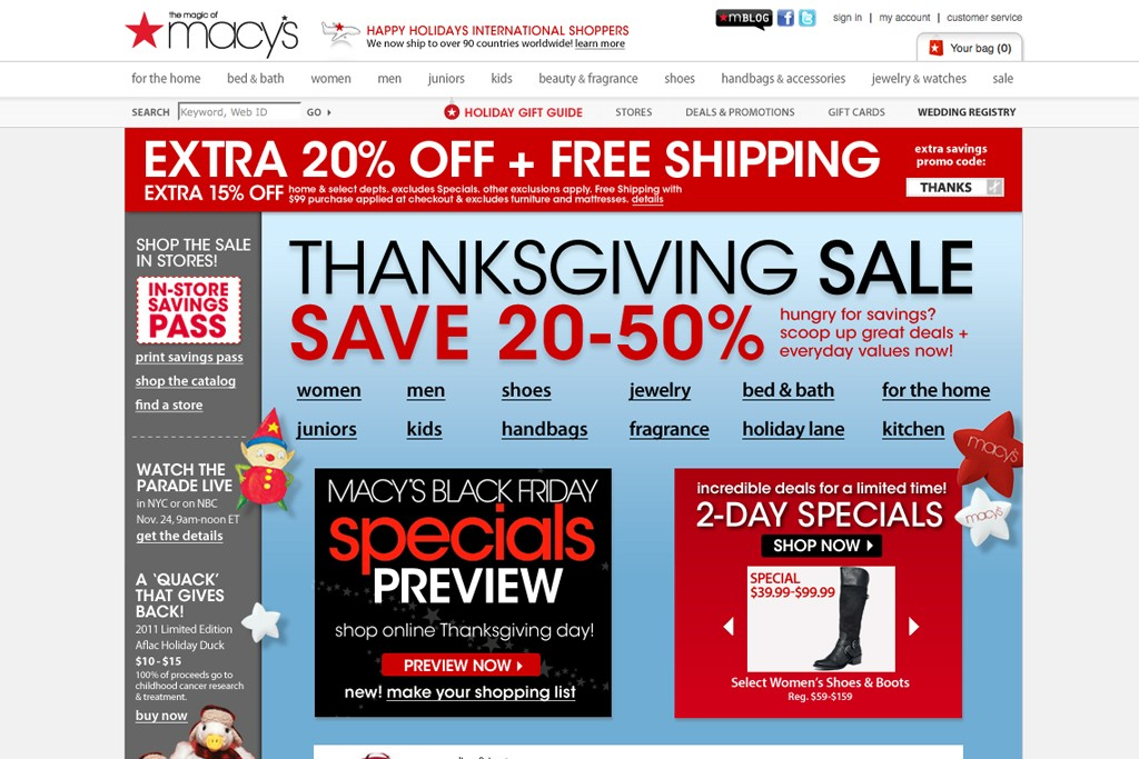 A view of the Macy's Web site promoting Black Friday sales.