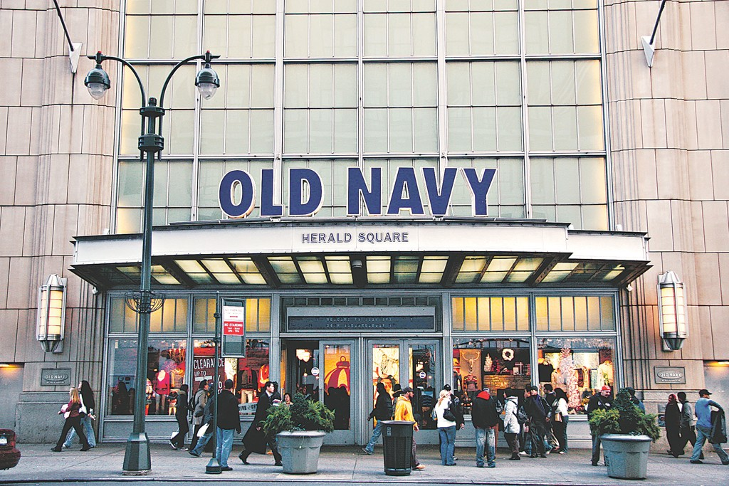A view of a Old Navy store front.