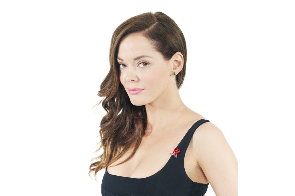 Rose McGowan with the new double-loop ribbon design.