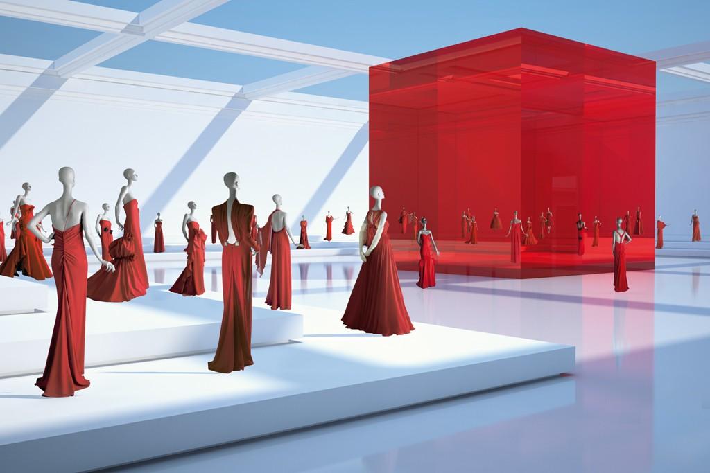 Views of the Valentino Garavani Virtual Museum.