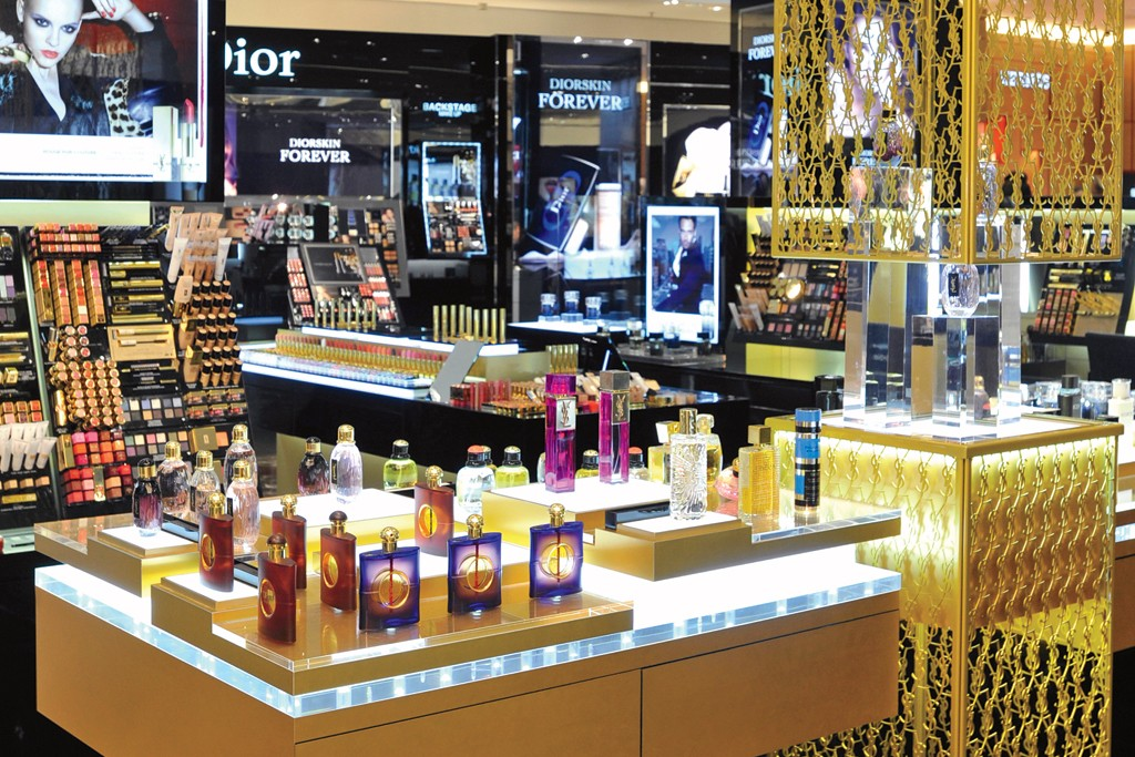 The Guerlain section on the beauty floor at Printemps.