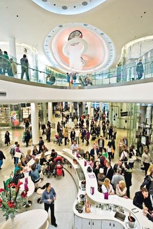 Inside the Westfield shopping center in London.